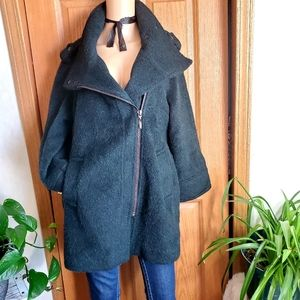 BAR III Hunter Green fuzzy wool blend long coat